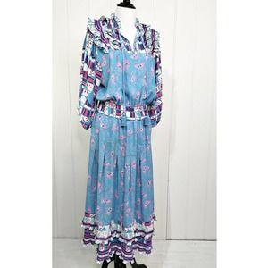 Vintage Diane Freis Colorful Boho Georgette Dress